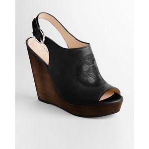 COACH Jade black wedge sandal size 7 1/2